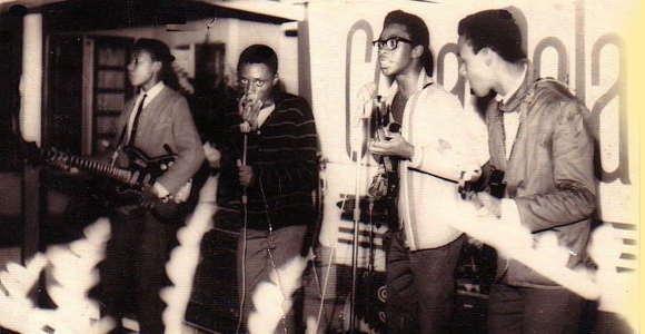 ED ON BASS WITH HIS FIRST STUDENT BAND THE ROAD RUNNERS