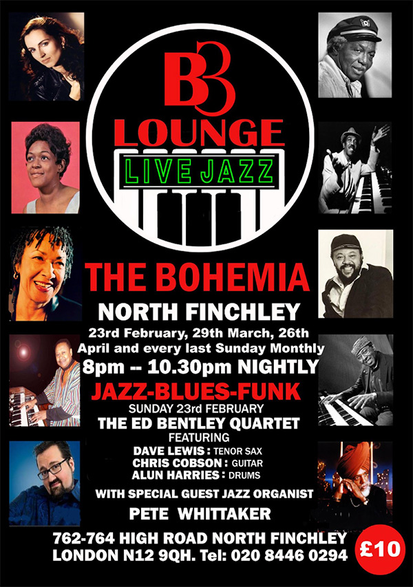 B3 LOUNGE LIVE JAZZ @ The Bohemia, North Finchley
